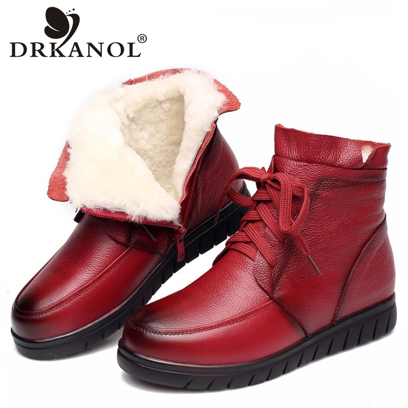 DRKANOL 2019 Women Snow Boots Vintage Genuine Leather Natural Wool Fur Winter Warm Ankle Boots For Women Flat Mother Shoes H7075