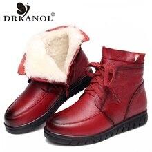 Drkanol 2020 Vrouwen Sneeuw Laarzen Vintage Lederen Natuurlijke Wol Bont Winter Warm Enkellaarsjes Voor Vrouwen Platte Moeder Schoenen h7075