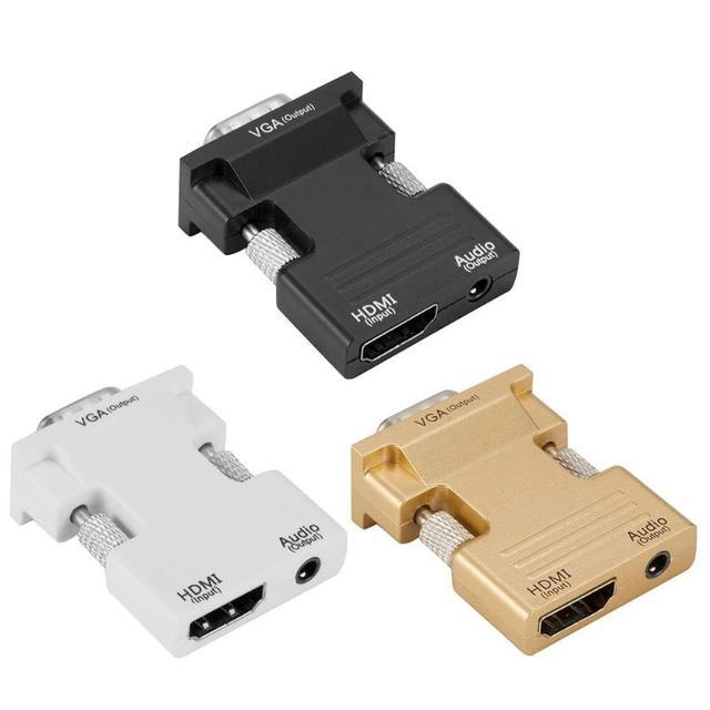 HDMI Male Female Ke Vfa Konverter Adaptor dengan Kabel Audio Mendukung 1080 P Output Sinyal untuk Komputer Set-Top kotak Kualitas Tinggi