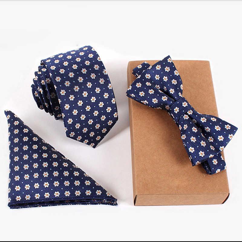 "RBOCOTT עניבת סטי Mens Slim עניבת דוט פרחוני ממחטת קשרים Bowtie 6 ס""מ כחול עניבה כיס כיכר עניבות פרפר גברים חתונה מסיבת אין תיבה"