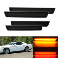 4PCS Smoked Lens Front & Rear Side Marker Lamps LED Lights For Dodge Challenger 2015 2016 (Front: Amber, Rear: Red)