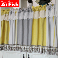 American Mediterranean coffee short window curtain Nordic stripe lace half kitchen semi shading tassel hanging ear curtain A40#4