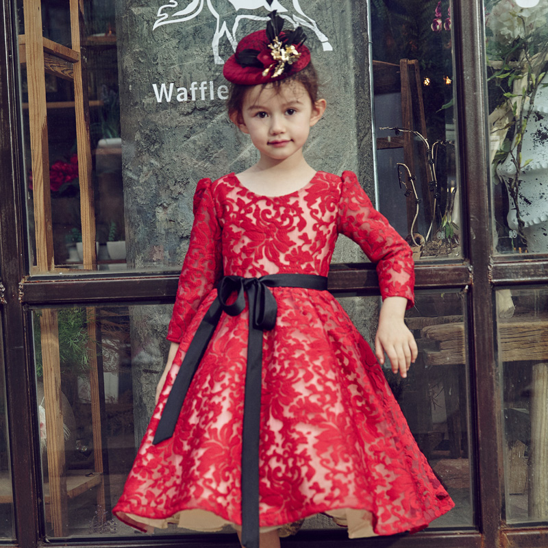 Luxury Red Princess Dress Long Sleeve Children Ball Gown with belt Baby Kids Fancy Party Dress Embroidery Floral Dresses A80