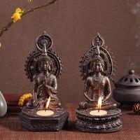 Southeast Asian Thai resin antique bronze sitting Buddha statue Candlestick Zen home decoration crafts living room decoration pi