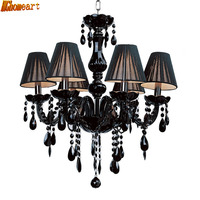 High Quality European Indoor Luxury Crystal Chandeliers Led E14 110v 220v Suspension Fashion Black Crystal Chandelier