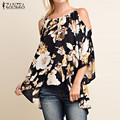 Retro Floral Print Shirt ZANZEA Women Blouses Shirts 2017 Sexy Ladies Sexy Off Shoulder 3/4 Flare Sleeve Blusas Tops Plus Size