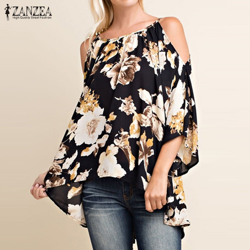 43bbf9b42e0e8 Zanzea ريترو الزهور طباعة قميص المرأة البلوزات والقمصان 2018 مثير السيدات  مثير معطلة الكتف 3 4 مضيئة كم blusas قمم زائد حجم