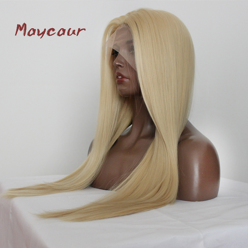 Image 3 - Maycaur Blonde Hair Lace Front Wigs Long Straight Color 613# Synthetic Lace Wigs-in Synthetic Lace Wigs from Hair Extensions & Wigs