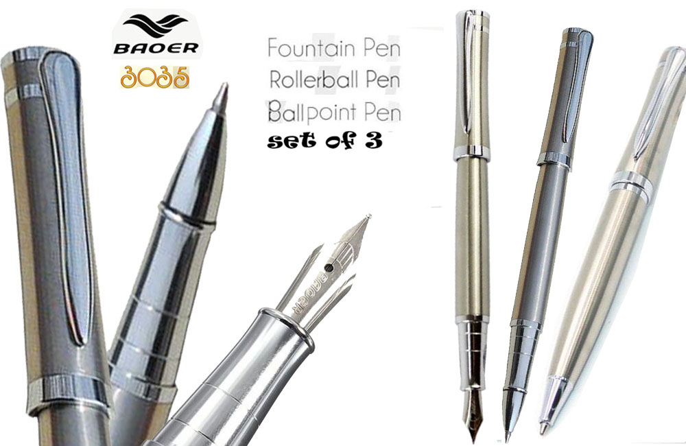 Set of 3 Fountain pen Roller Ball and Ballpoint pens Chrome Silver BAOER 3035 signature pens wholesale 3pens/lot  Free  Shipping купить