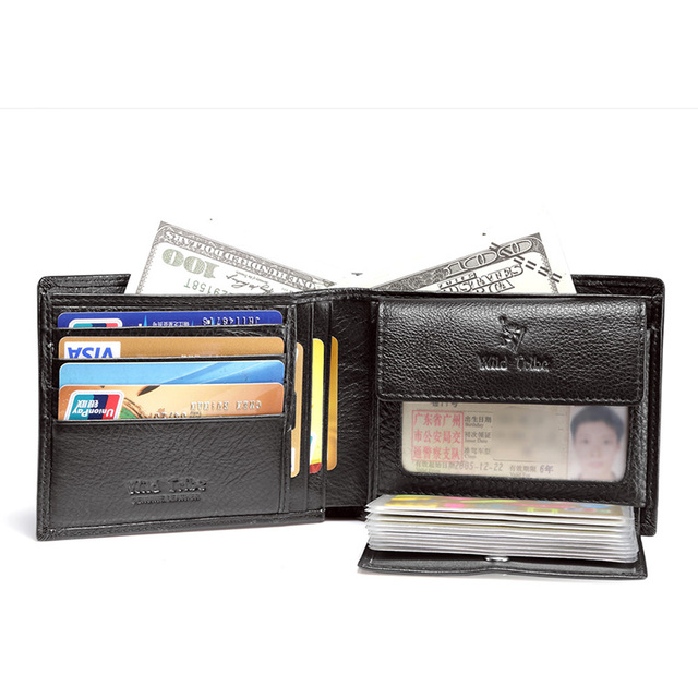 Trend Men's Leather Casual Credit Card Case ID Cash Coin Holder Small Wallet Organizer Wallet Trifold Wallet Black Q426