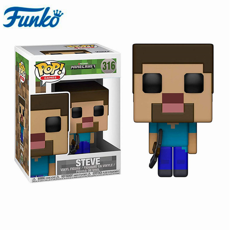 Funko Pop Anime Game Minecraft-#322 STEVE IN DIAMOND ARMOR CREEPER STEVE Action Figure Model Toys Collection Kids Birthday Gifts 1