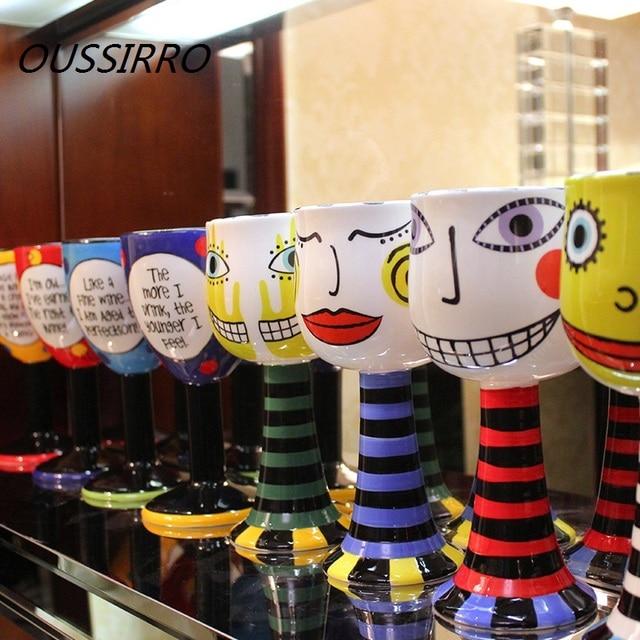 Creative Fashion Personality Painted Goblet Ceramic Mug With Spoon Milk Coffee Ice Cream Mug Champagne Wine Cup Halloween Gift