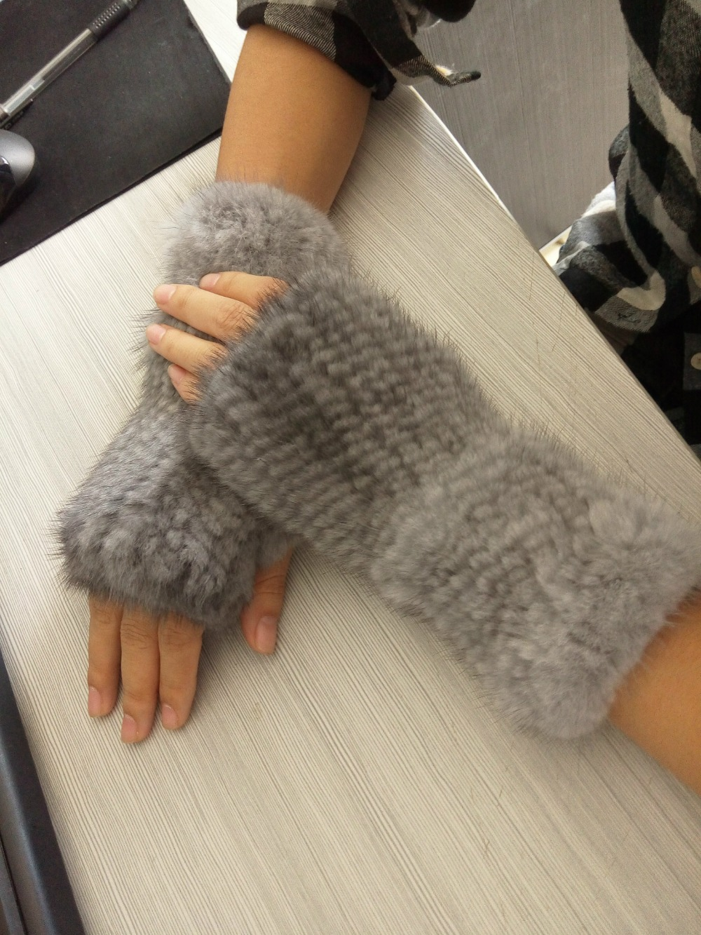 fashion semi-finger thermal winter mitten gloves for women brown black white glove mitten Mink knitted glove AG-38