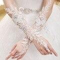 Moda Longo Sexy Casamento Do Laço Nupcial Luvas Sem Dedos Luvas De Noiva Longo Atacado Impressionante Fingerless Luvas Do Casamento Do Laço