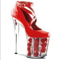 Chuassure hochzeit frauen sexy brautschuhe hochzeit 17/20 cm plexiglas heels 10 cm platformsexy pumps rot weiß heels blume schuhe