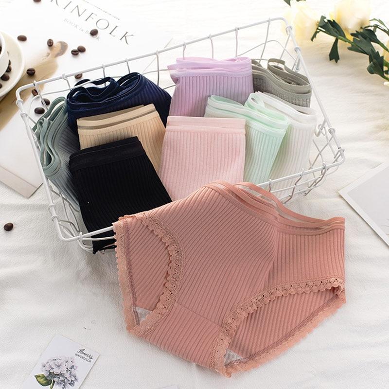 Women's Cotton Panties Female Striped Breathable Briefs Sexy Lace Decoration Underwear Women Plus Size L XL XXL Lingerie Intimates  (1)