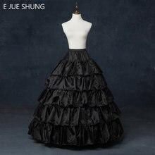 dfe4140040d E JUE SHUNG Livraison Gratuite 5 Couches Jupon Noir à Volants Robe De Bal 4  Cerceaux Crinoline pour Robes De Mariée