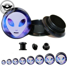 2 Pcs Screw Acrylic Ear Tunnel Alien Pattern Plugs Thickness Gauges Flesh Body Piercing Ear Reamer Expander 6-25mm