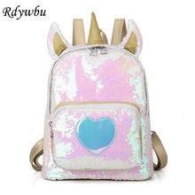 2413438a67c1 Rdywbu 2 Way блестки рюкзак с единорогом; модная женская обувь с блестками;  школьная сумка