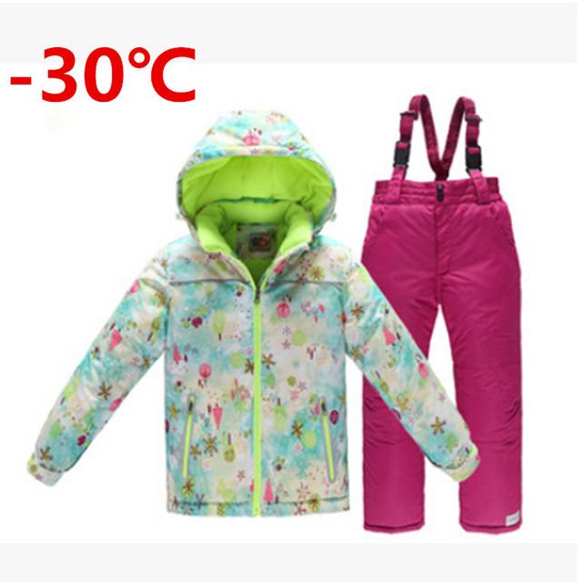 -30 meninas ternos de esqui crianças espessamento quente conjunto de roupas de neve jaqueta + macacão 2 pcs little big meninas snowsuits qualidade superior