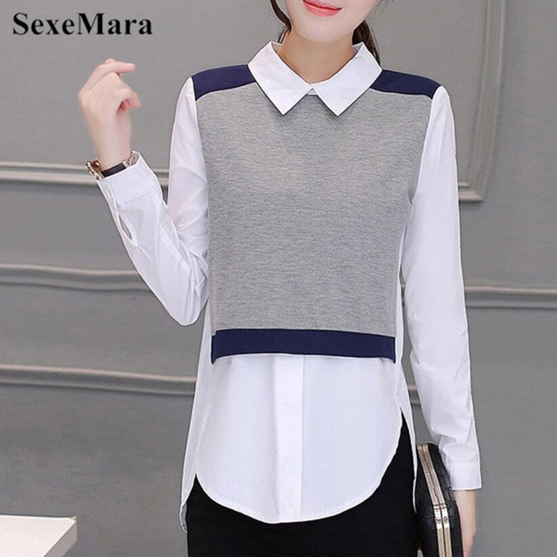 3XL Plus Size Long Sleeve Women   Blouse     Shirt   Autumn New Office Work Wear Patchwork Women Tops   Shirts   Fake Two Pieces Lady Blusas