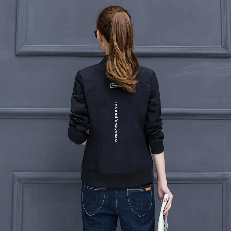 Harajuku Лето Осень Женская Повседневная куртка-бомбер с длинным рукавом с круглым вырезом Верхняя одежда молнии карманы Винтаж корейские пальто плюс размер 4XL