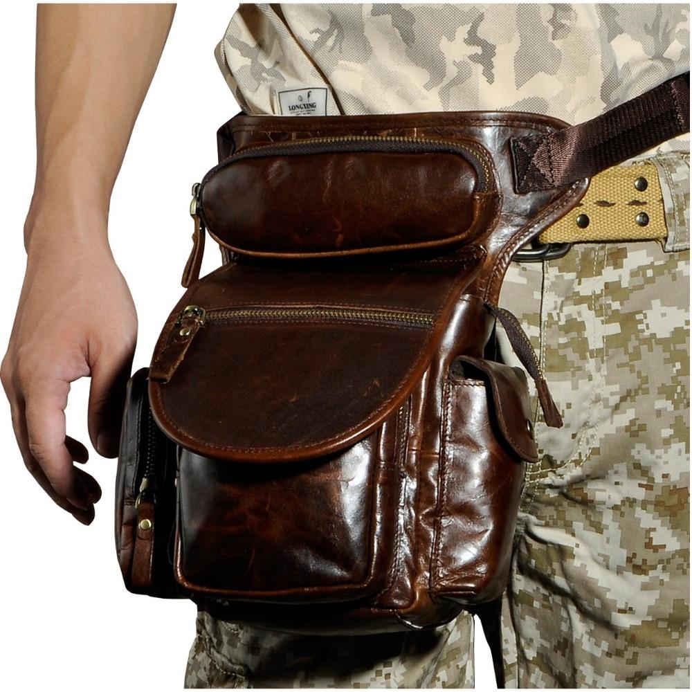 Högkvalitativ äkta läder mäns vintage brun liten ryggsäck midja - Bälten väskor - Foto 2