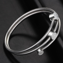 2019 New Trendy Bangle Silver Color Crystal Ball High Quality Polishing Double Layer Bracelets Bangles For Women