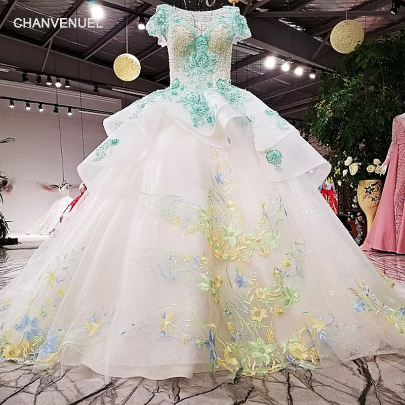 LS94533 color flowers ball gown evening dress with glitter o neck girls shiny dress for formal party with train as photos 2018