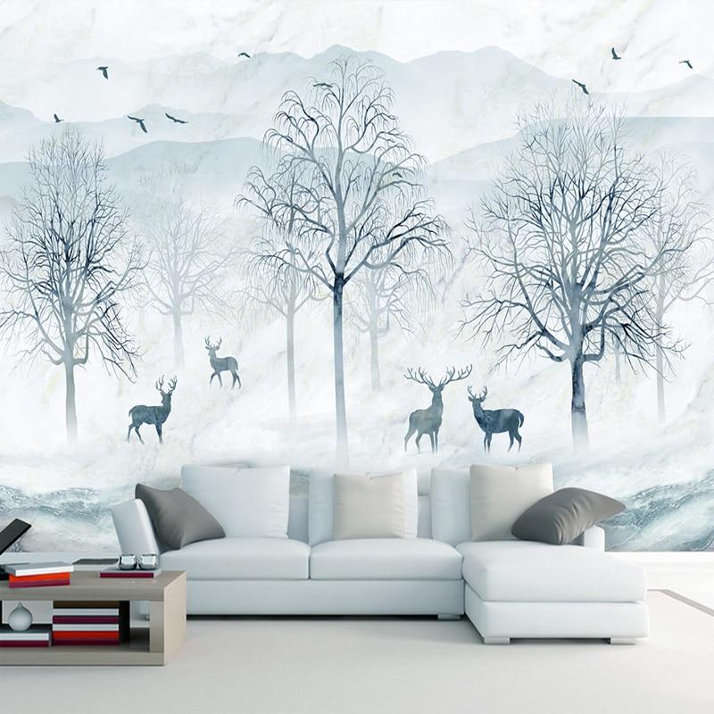 Custom Mural Wallpaper 3D Nordic Abstract Forest Elk