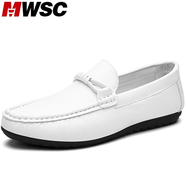 MWSC New Casual Designer Loafer Shoes Men's Slip On White Black Loafers Chaussure Flat with Mocassin Driving Shoes