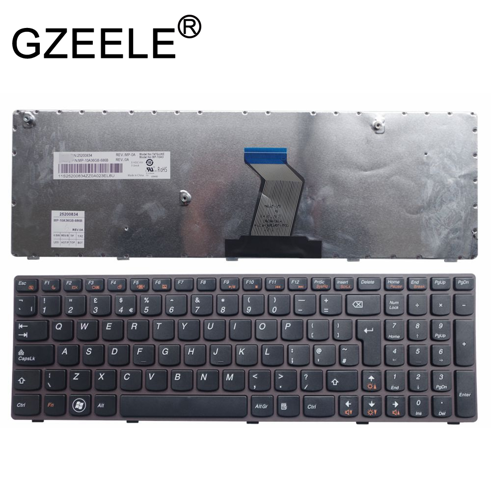 GZEELE New UK Keyboard Fit For Lenovo B575e B580 B580A B590 V580 V580c 570A B570G B575 With Frame Replacement Black English