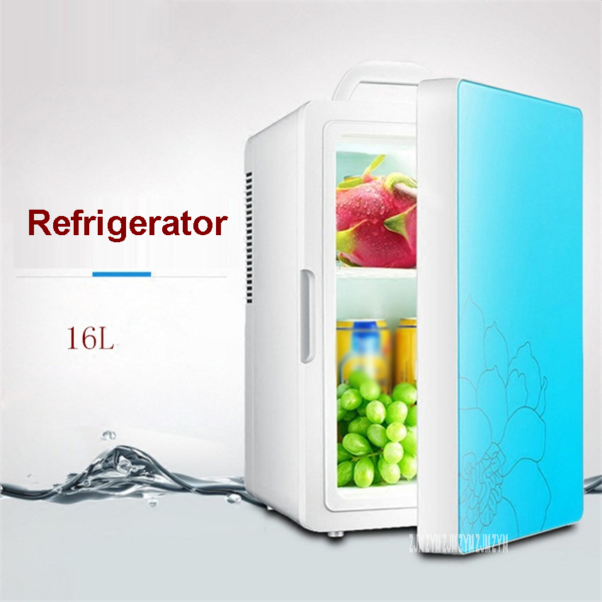 16L Car Refrigerator 220V 12V Mini Refrigerator Refrigeration Dormitory Family Car Home Dual-Use Heater Multi-function HD-16L
