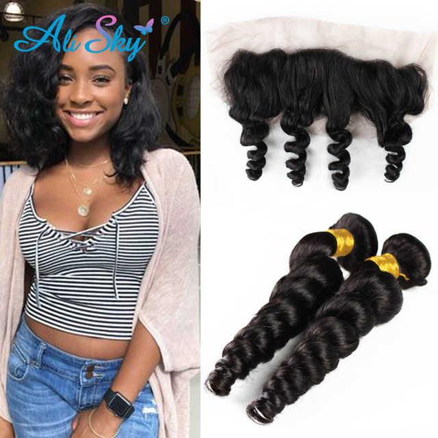 3 Bundles Brazilian Loose Wave with Frontal Brazilian Loose Wave Virgin Hair Bundles Unprocessed Virgin Brazilian Hair Extension