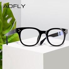 AOFLY diseño de marca gafas de mujer elegante lectura remache impreso gafas marco claro lente óptica gafas Vintage AF9206