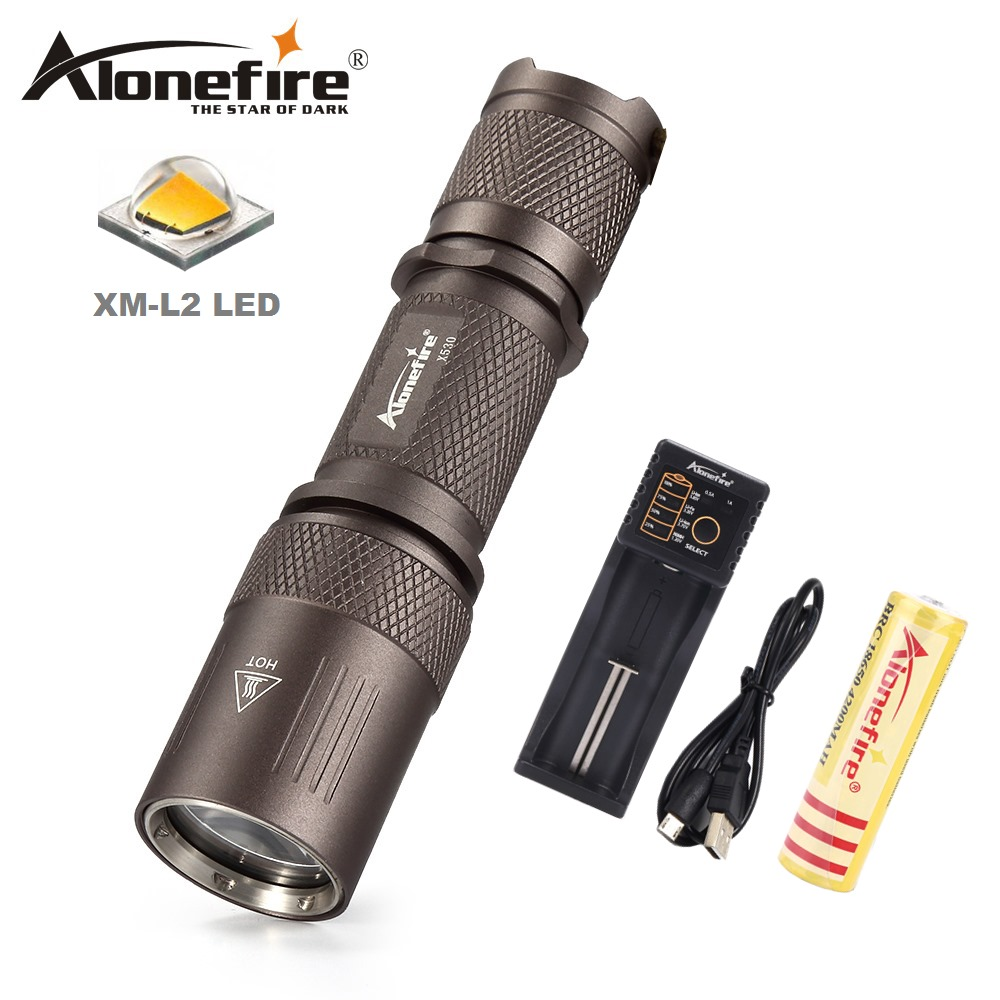 AloneFire X530 Portable LED Flashlight 18650 Pocket light Cree XML L2 Tactical Flashlight Waterproof 5 modes Searching Light sitemap 42 xml