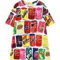 Mulheres t-shirt engraçado 2016 nova casual bonito latas de refrigerante de impressão curta manga tee top mulher ladies solto tshirt colorido moda T Camisa
