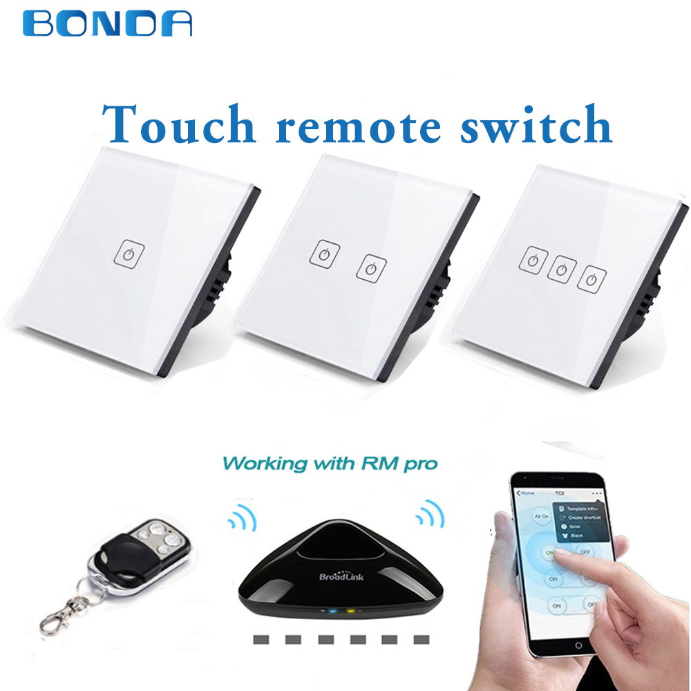BDNOA EU/UC standard 1/2/3 remote control switch set, intelligent home remote control 420 remote control wall touch switch 220v 86 type one touch switch intelligent home wireless radio frequency remote control wall switch