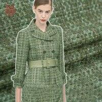 סגנון פסטורלי אמריקאי בד אריגת מעורבב צמר גפן חורף מעיל ירוק Matcha רקמות צמר telas tecidos stoffen SP4560