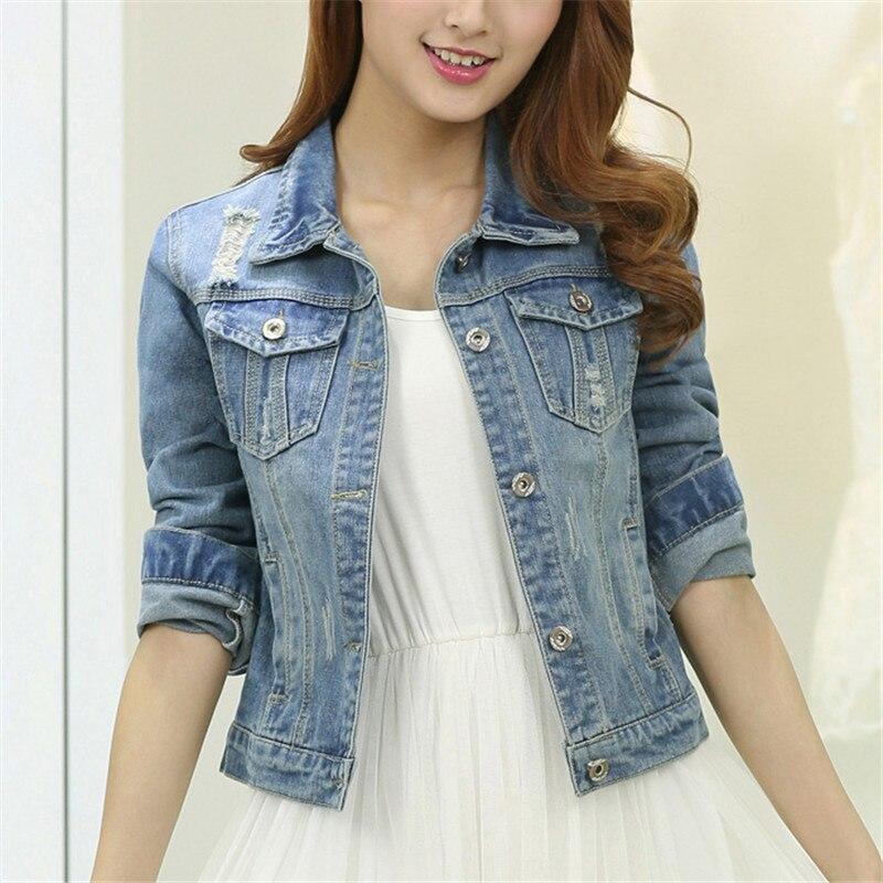 Women Plus Size Cropped Jean Jacket Light Blue Bomber -7361