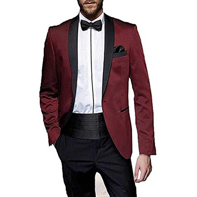 Bal Pantalon De Châle Slim Pièce 2 Mariage Soirée Veste Blazer D'affaires Unique Costume Formelle Picture Smokings 2018 Mens Revers Poitrine Fit As wzF0E0xa