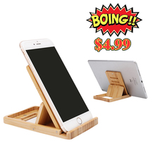 iCozzier Mini Bamboo Portable Adjustable Tablet Phone Stand Office Home Multi-angle Foldable Cellphone Holder