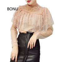 Stand Neck Ruffles Tiered Blouse Beading Pearl Lace Long Sleeve Women Blouse Sexy Perspective Women S