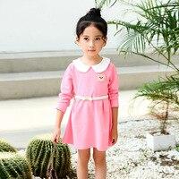1 Pcs 2T 8T Girl Dresses Lapel Princess Style Dresses Long Sleeves Cotton Girl Dresses Spring