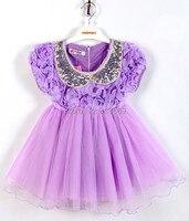 1 Pcs Retail Girls Dress Lace Veil Dimensional Rose Skirt Cute Doll Collar Dress 1343 X