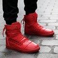 Novos Homens Sapatos Casuais de Alta Qualidade Pu de Couro Dos Homens De Alta Topo sapatos Da Moda Lace Up Respirável Sapatos de Hip Hop Homens Preto Vermelho branco