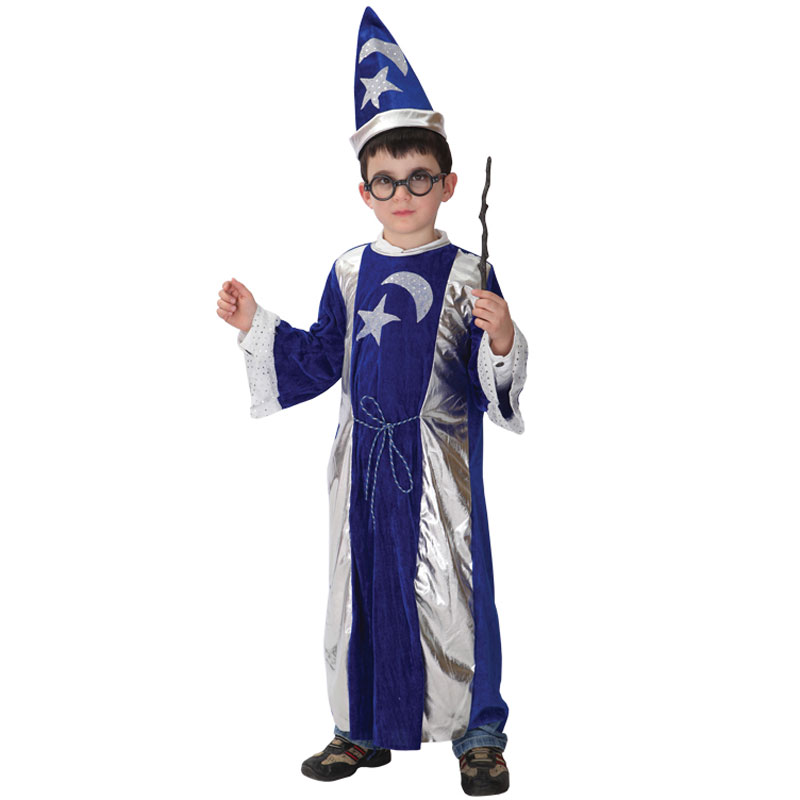 Umorden Purim Childrens Day Halloween Wizard Costumes for Kids Boy Magic Magician Costume Cosplay Star Moon Robe Gown