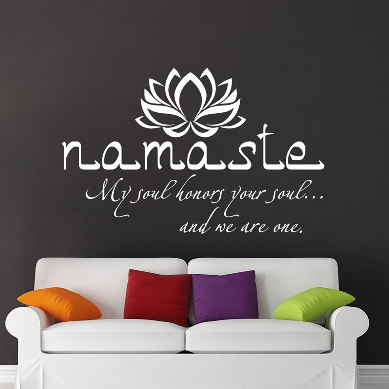 namaste wall decal quote vinyl sticker decals quotes buddha decor