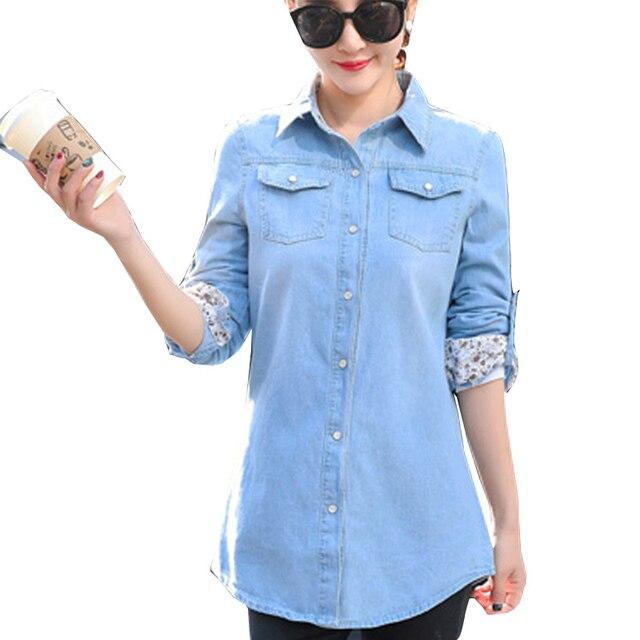 d9baf9ba226 Women Tops and Blouses Denim Shirts for Ladies Top 2019 Autumn Long Sleeve  Blue Jeans Shirt