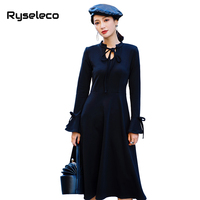 Ryseleco 2018 Vintage Long Flare Sleeve Slim Women Little Black Dress New Lace Up A Line